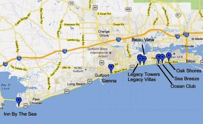 Biloxi And Gulfport Ms Vacation Al Condo Map